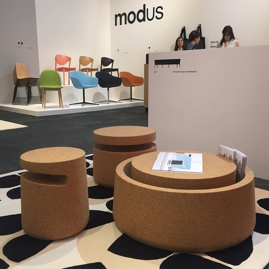 Art/Abe/Arne recycled Cork tables for Modus... #Milano #isalone2016 #modusfurniture #michaelsodeau #michaelsodeaustudio #cork #recycled #Milanogram2016 #MilanDesignWeek #christopherfarr #moderncraft #design #simplicity #storage