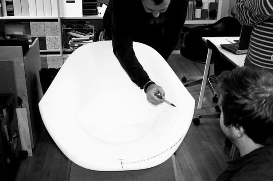 Lily chair shell development, softening the form, and reducing the seat depth... #regram @modusfurniture #prototype #development #furniture #design #modern #simplicity #loungechair #compact #michaelsodeaustudio #michaelsodeau #modus #foam #mould #sculpting #attentiontodetail #drawing #process